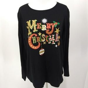 New Holiday Time XL Shirt Black Christmas Print